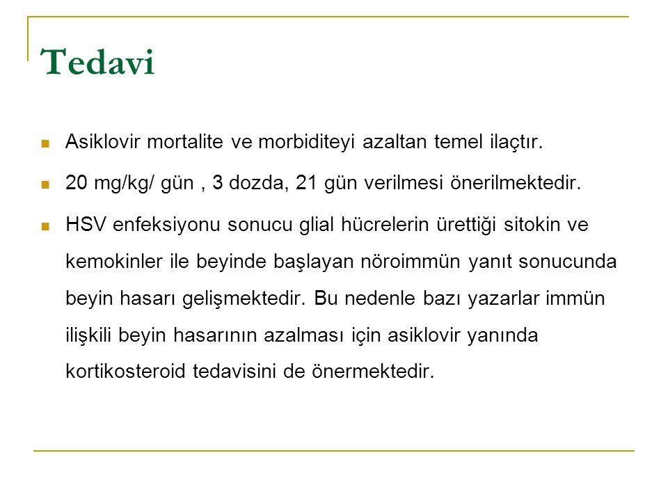 Tedavi Asiklovir mortalite ve morbiditeyi azaltan temel ilaçtır.