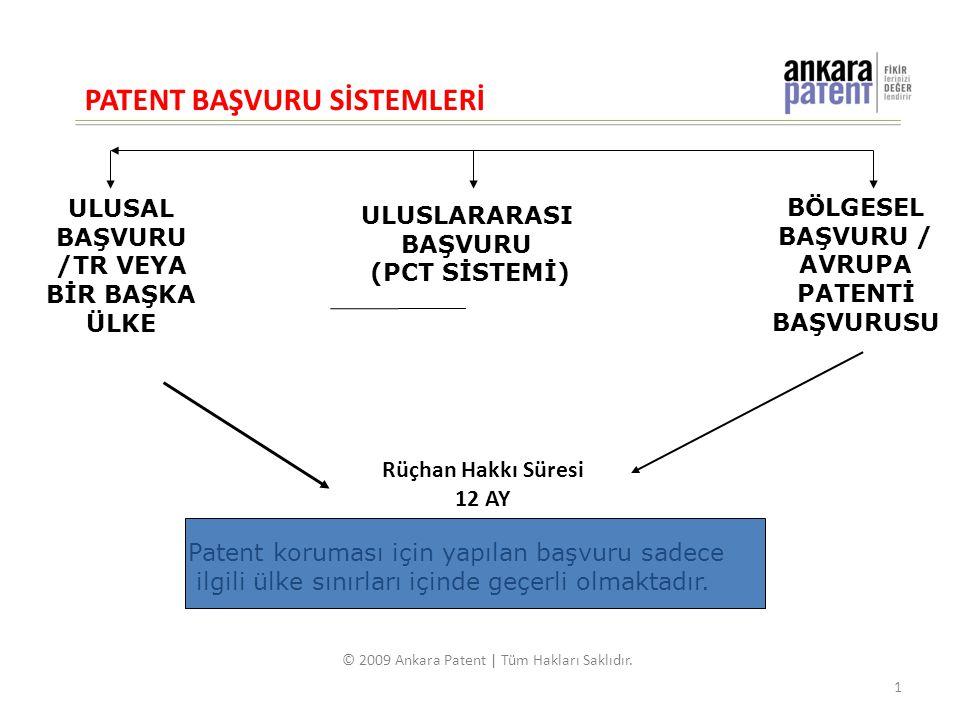ULUSAL BAŞVURU /TR VEYA BİR BAŞKA ÜLKE ULUSLARARASI BAŞVURU (PCT SİSTEMİ) Rüçhan Hakkı Süresi 12 AY Patent koruması için yapılan başvuru sadece ilgili ülke sınırları içinde geçerli olmaktadır.