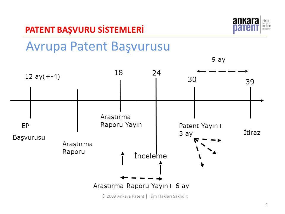 Avrupa Patent Başvurusu 18 EP Başvurusu Araştırma Raporu Araştırma Raporu Yayın Patent Yayın+ 3 ay İtiraz İnceleme Araştırma Raporu Yayın+ 6 ay 12 ay(+-4) 9 ay PATENT BAŞVURU SİSTEMLERİ 4 © 2009 Ankara Patent | Tüm Hakları Saklıdır.