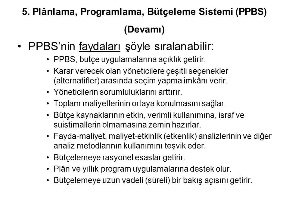 PPBS'nin faydaları şöyle sıralanabilir: PPBS, bütçe uygulamalarına açıklık getirir. Karar verecek olan yöneticilere çeşitli seçenekler (alternatifler)