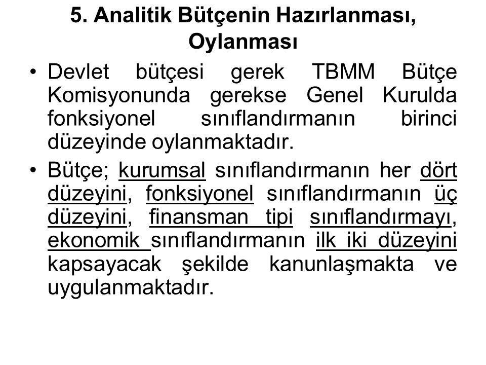 5. Analitik Bütçenin Hazırlanması, Oylanması Devlet bütçesi gerek TBMM Bütçe Komisyonunda gerekse Genel Kurulda fonksiyonel sınıflandırmanın birinci d