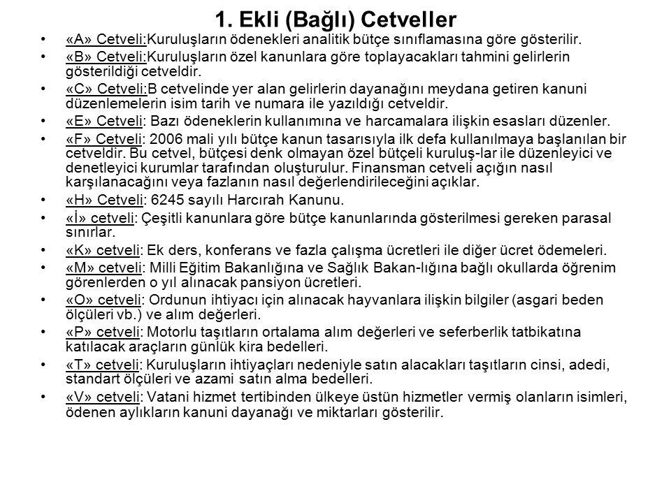 1. Ekli (Bağlı) Cetveller «A» Cetveli:Kuruluşların ödenekleri analitik bütçe sınıflamasına göre gösterilir. «B» Cetveli:Kuruluşların özel kanunlara gö