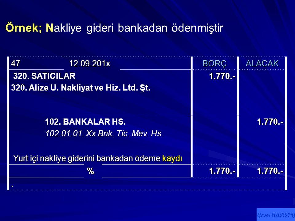 Örnek; Örnek; Bursa ile Haydarpaşa gümrüğü arası 270.- lirası KDV olmak üzere toplam 1.770.- liralık nakliye gideri bankadan ödenmiştir 46 12.09.201x