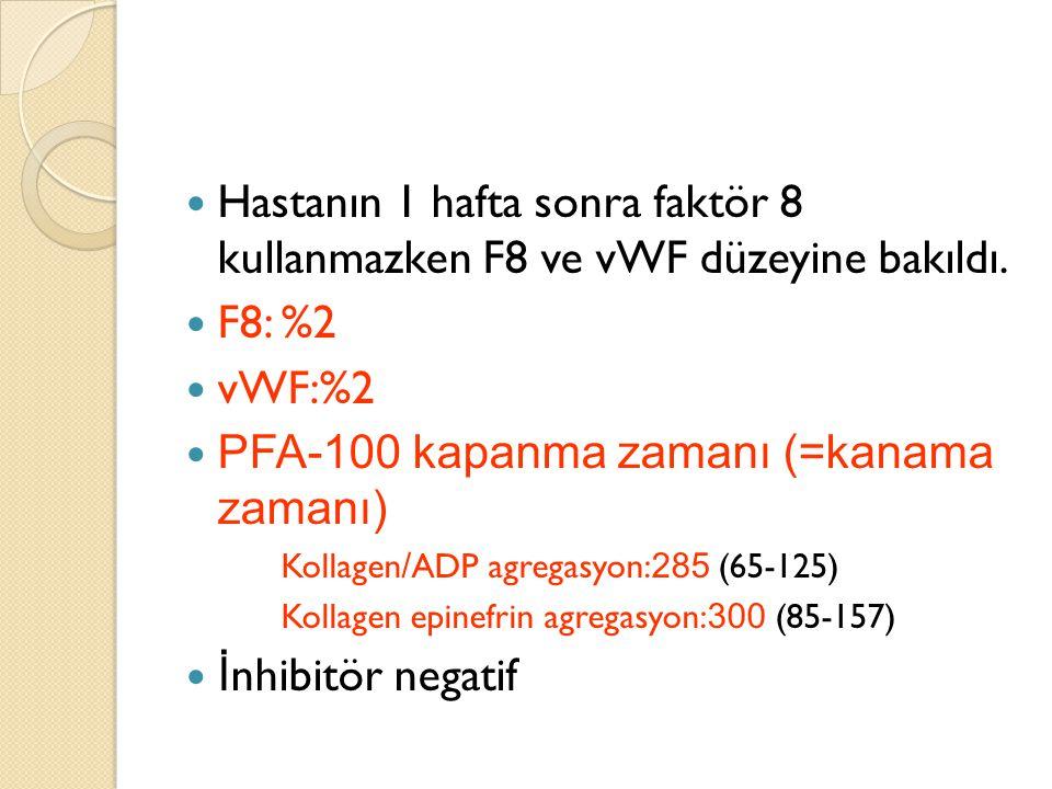 Hastanın 1 hafta sonra faktör 8 kullanmazken F8 ve vWF düzeyine bakıldı. F8: %2 vWF:%2 PFA-100 kapanma zamanı (=kanama zamanı) Kollagen / ADP agregasy