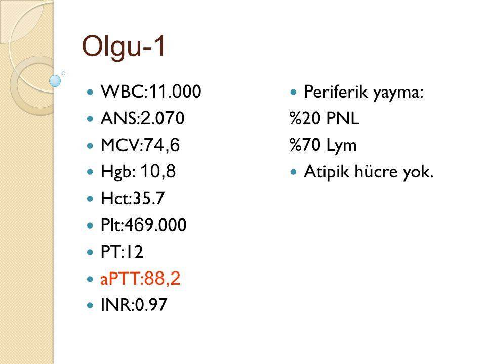Olgu-1 WBC: 11. 0 00 ANS: 2.0 7 0 MCV: 74,6 Hgb: 10,8 Hct:35.7 Plt:4 6 9.000 PT:12 aPTT: 88,2 INR:0.97 Periferik yayma: %20 PNL %70 Lym Atipik hücre y