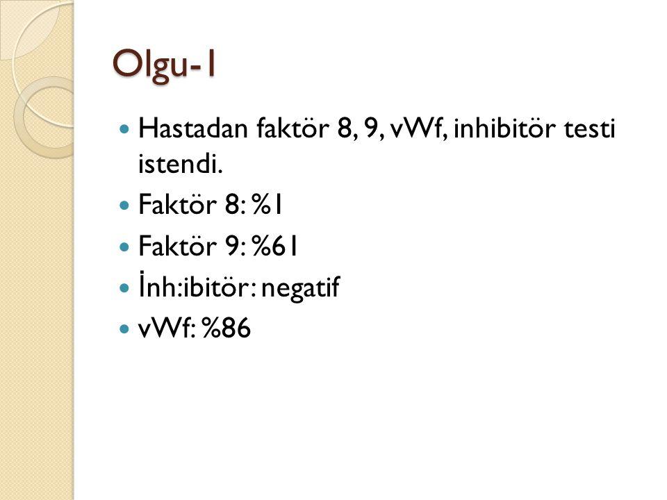 Olgu-1 Hastadan faktör 8, 9, vWf, inhibitör testi istendi. Faktör 8: %1 Faktör 9: %61 İ nh:ibitör: negatif vWf: %86