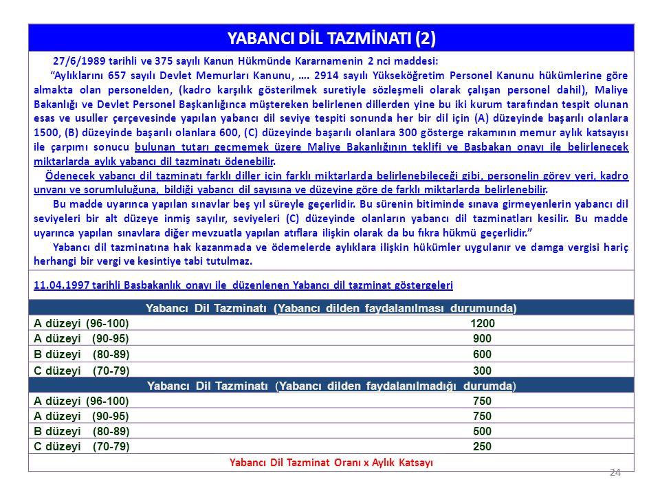"""24 YABANCI DİL TAZMİNATI (2) 27/6/1989 tarihli ve 375 sayılı Kanun Hükmünde Kararnamenin 2 nci maddesi: """"Aylıklarını 657 sayılı Devlet Memurları Kanun"""