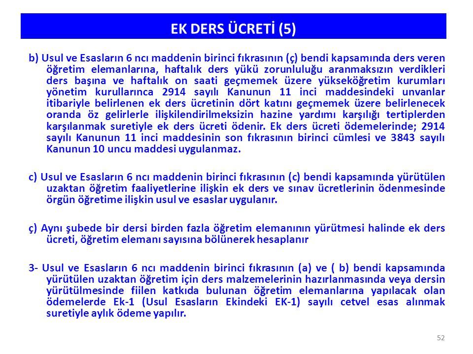52 EK DERS ÜCRETİ (5) b) Usul ve Esasların 6 ncı maddenin birinci fıkrasının (ç) bendi kapsamında ders veren öğretim elemanlarına, haftalık ders yükü