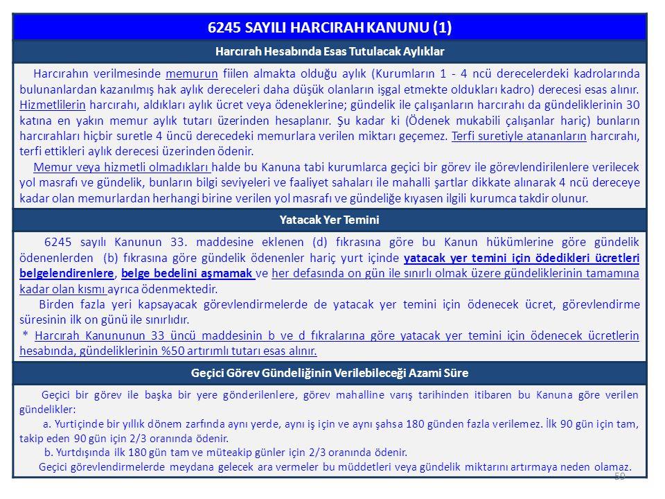 59 6245 SAYILI HARCIRAH KANUNU (1) Harcırah Hesabında Esas Tutulacak Aylıklar Harcırahın verilmesinde memurun fiilen almakta olduğu aylık (Kurumların
