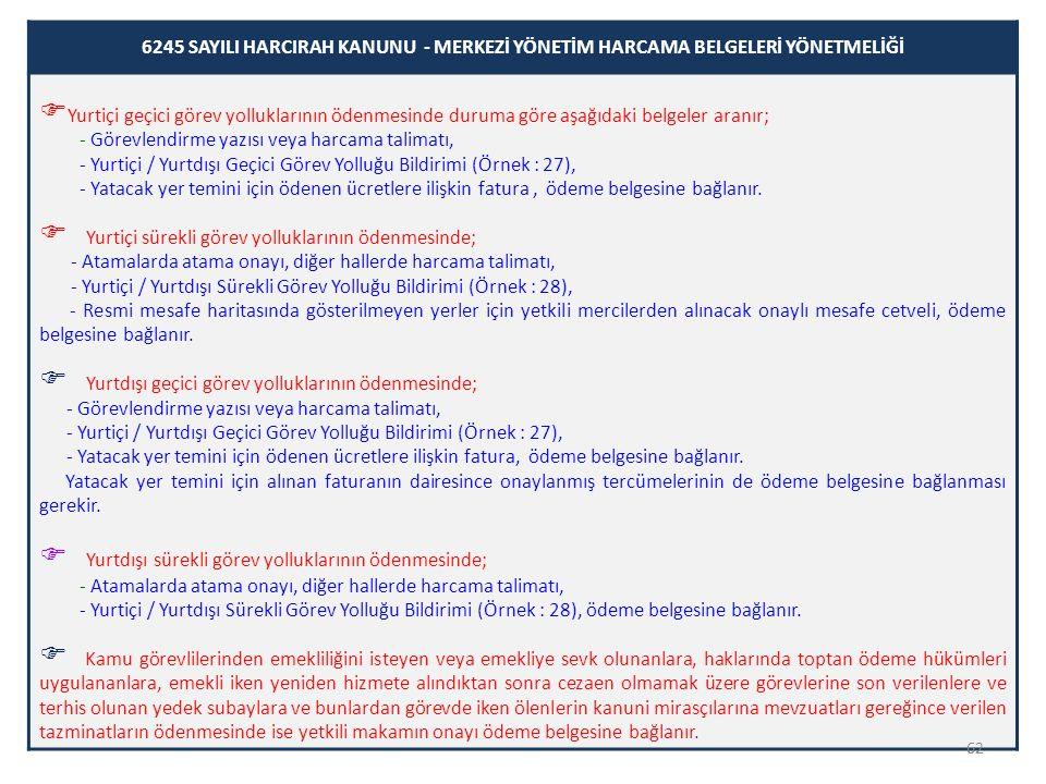 62 6245 SAYILI HARCIRAH KANUNU - MERKEZİ YÖNETİM HARCAMA BELGELERİ YÖNETMELİĞİ  Yurtiçi geçici görev yolluklarının ödenmesinde duruma göre aşağıdaki