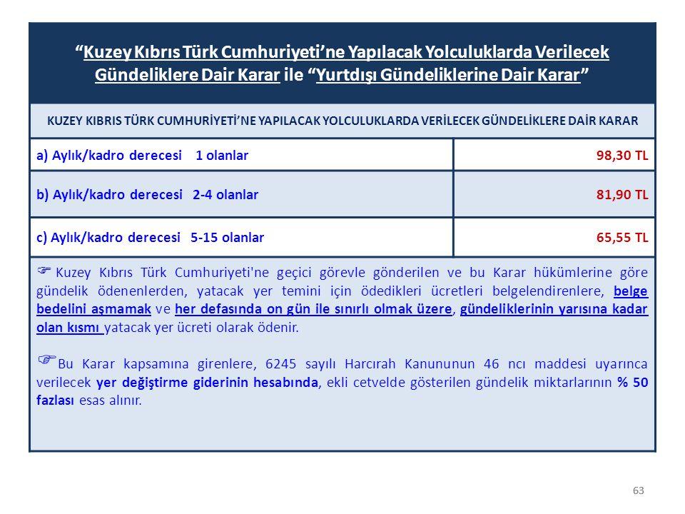 """63 """"Kuzey Kıbrıs Türk Cumhuriyeti'ne Yapılacak Yolculuklarda Verilecek Gündeliklere Dair Karar ile """"Yurtdışı Gündeliklerine Dair Karar"""" KUZEY KIBRIS T"""