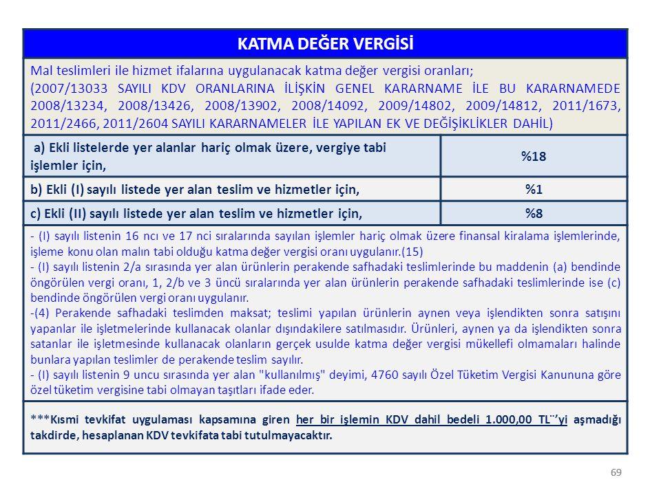 69 KATMA DEĞER VERGİSİ Mal teslimleri ile hizmet ifalarına uygulanacak katma değer vergisi oranları; (2007/13033 SAYILI KDV ORANLARINA İLİŞKİN GENEL K