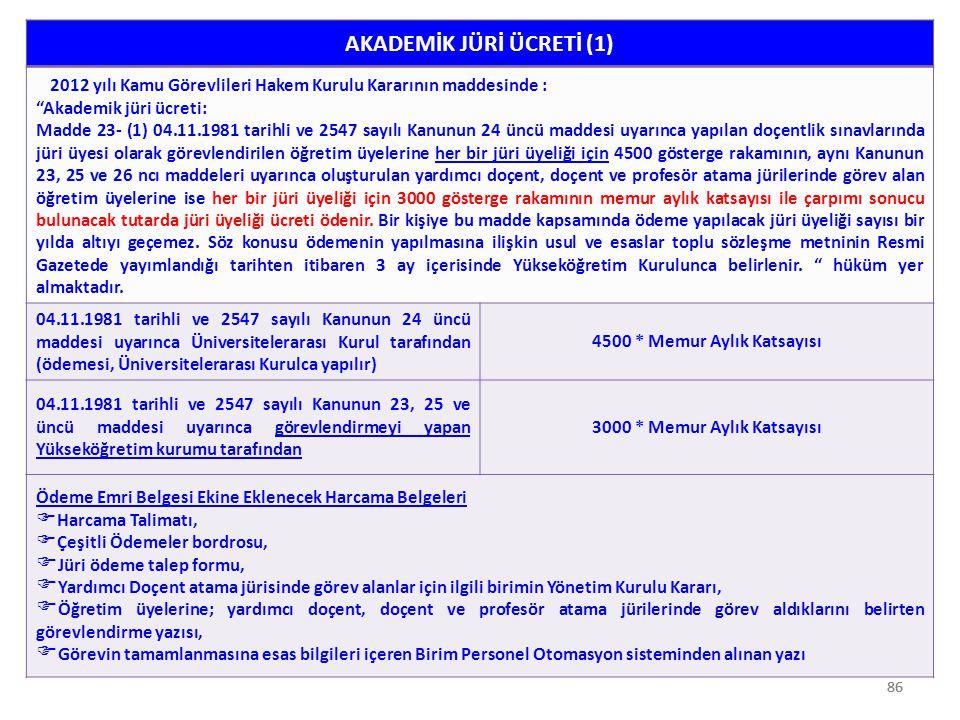 """86 AKADEMİK JÜRİ ÜCRETİ (1) 2012 yılı Kamu Görevlileri Hakem Kurulu Kararının maddesinde : """"Akademik jüri ücreti: Madde 23- (1) 04.11.1981 tarihli ve"""