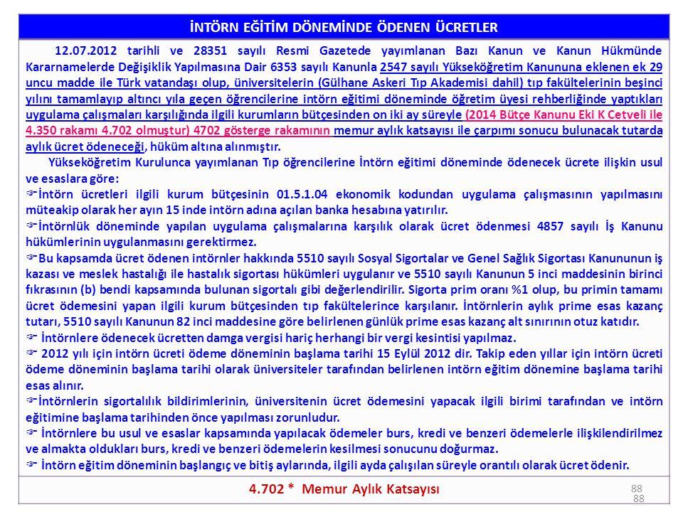88 İNTÖRN EĞİTİM DÖNEMİNDE ÖDENEN ÜCRETLER 12.07.2012 tarihli ve 28351 sayılı Resmi Gazetede yayımlanan Bazı Kanun ve Kanun Hükmünde Kararnamelerde De