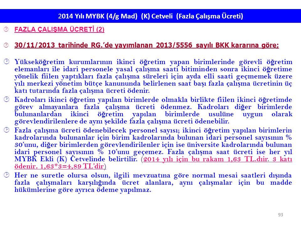 93 2014 Yılı MYBK (4/g Mad) (K) Cetveli (Fazla Çalışma Ücreti)  FAZLA ÇALIŞMA ÜCRETİ (2)  30/11/2013 tarihinde RG.'de yayımlanan 2013/5556 sayılı BK
