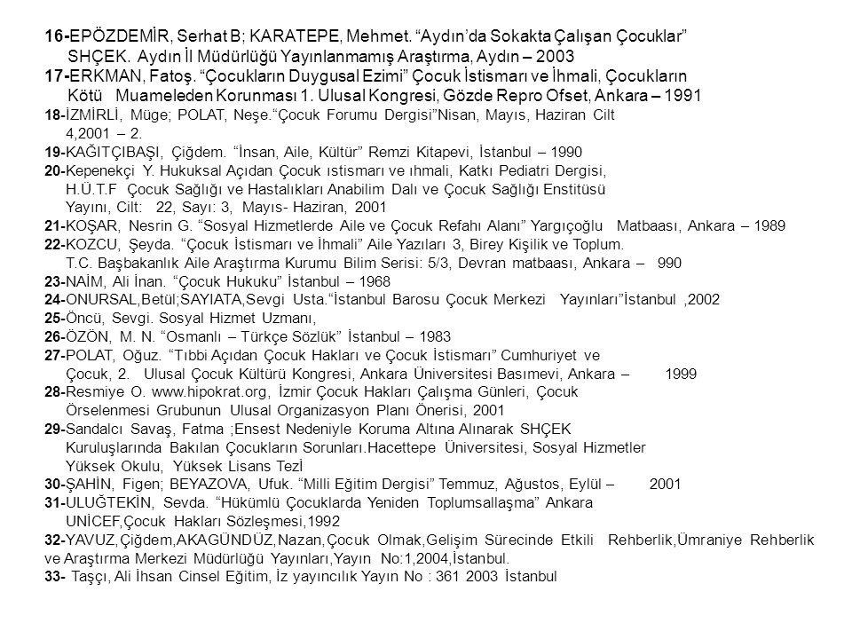 """16-EPÖZDEMİR, Serhat B; KARATEPE, Mehmet. """"Aydın'da Sokakta Çalışan Çocuklar"""" SHÇEK. Aydın İl Müdürlüğü Yayınlanmamış Araştırma, Aydın – 2003 17-ERKMA"""