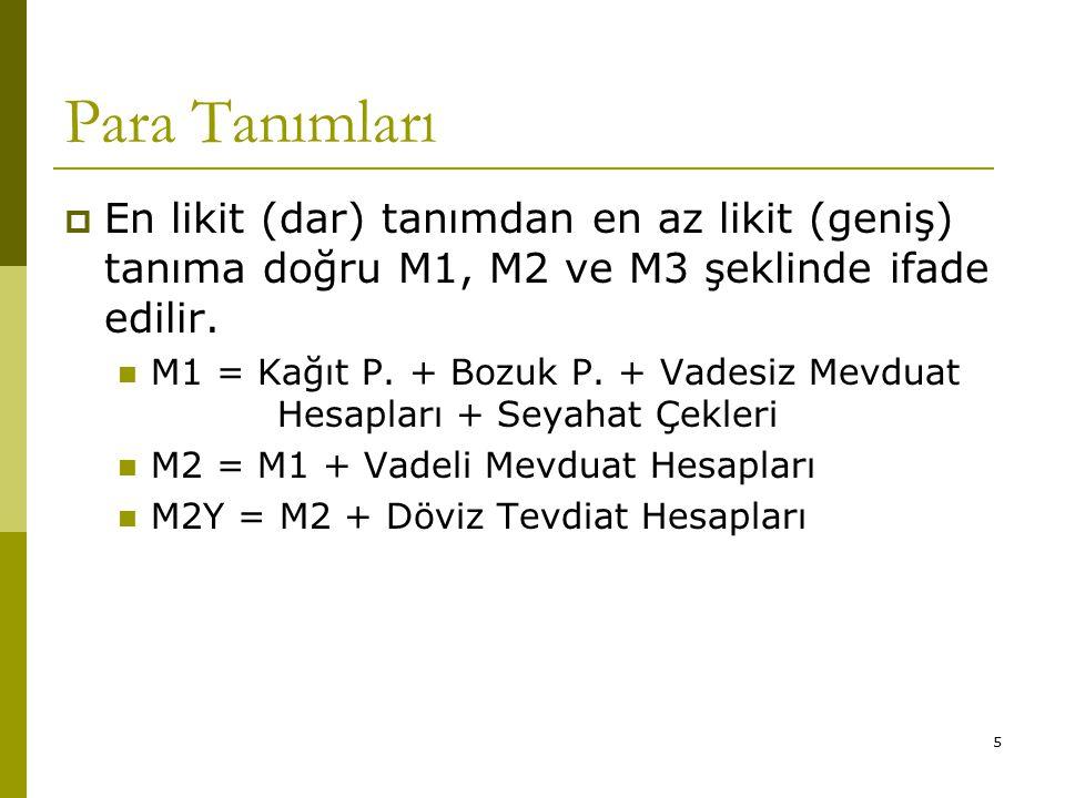 5 Para Tanımları  En likit (dar) tanımdan en az likit (geniş) tanıma doğru M1, M2 ve M3 şeklinde ifade edilir.
