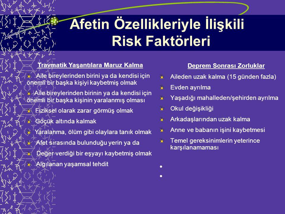 Risk Faktörleri afetin özellikleriyle ilişkili faktörler - felaketin boyutu ve şiddeti - travmatik yaşantılara maruz kalma düzeyi çocuğun bireysel özellikleriyle ilişkili faktörler