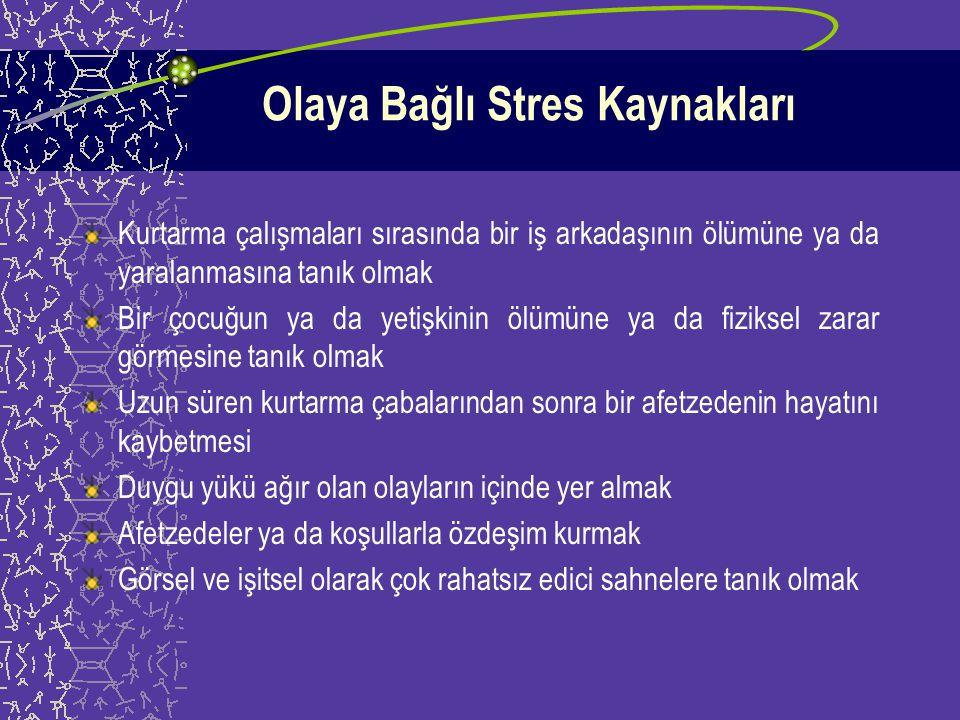 Afet Çalışanlarının Karşılaşabilecekleri Stres Kaynakları Olaya Bağlı Stres Kaynakları Mesleki Stres Kaynakları Çevresel Stres Kaynakları