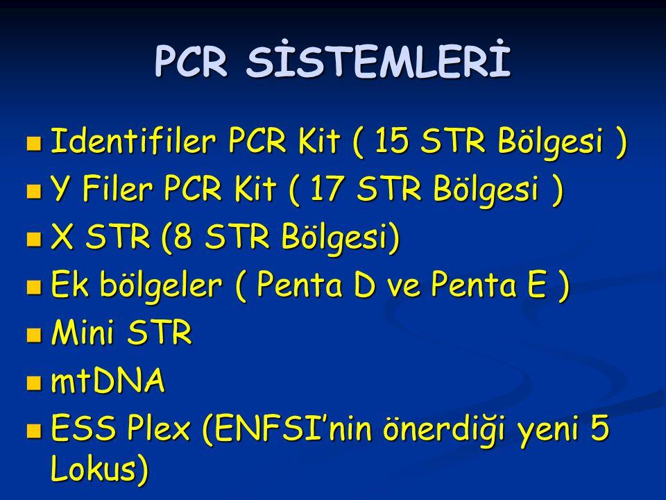 PCR SİSTEMLERİ Identifiler PCR Kit ( 15 STR Bölgesi ) Identifiler PCR Kit ( 15 STR Bölgesi ) Y Filer PCR Kit ( 17 STR Bölgesi ) Y Filer PCR Kit ( 17 STR Bölgesi ) X STR (8 STR Bölgesi) X STR (8 STR Bölgesi) Ek bölgeler ( Penta D ve Penta E ) Ek bölgeler ( Penta D ve Penta E ) Mini STR Mini STR mtDNA mtDNA ESS Plex (ENFSI'nin önerdiği yeni 5 Lokus) ESS Plex (ENFSI'nin önerdiği yeni 5 Lokus)