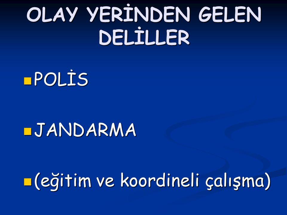OLAY YERİNDEN GELEN DELİLLER POLİS POLİS JANDARMA JANDARMA (eğitim ve koordineli çalışma) (eğitim ve koordineli çalışma)