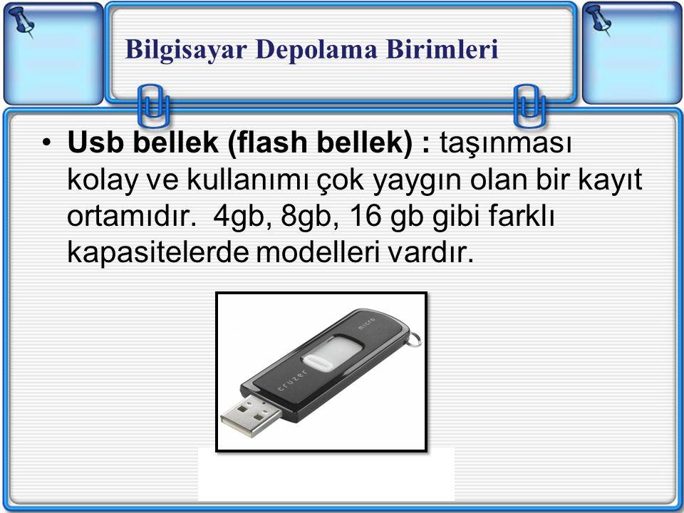 Usb bellek (flash bellek) : taşınması kolay ve kullanımı çok yaygın olan bir kayıt ortamıdır.