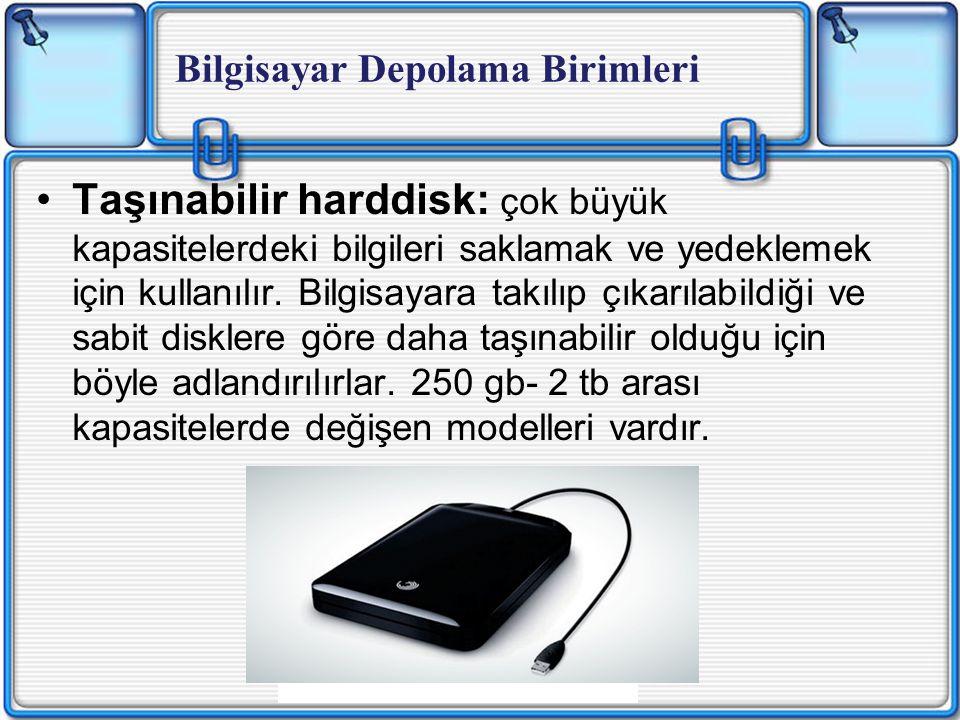Taşınabilir harddisk: çok büyük kapasitelerdeki bilgileri saklamak ve yedeklemek için kullanılır.
