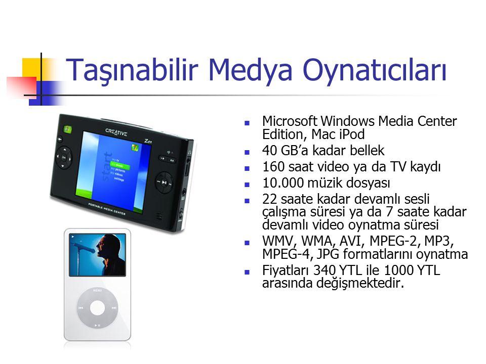 Taşınabilir Mp3 Çalar 40 GB'a kadar bellek 10.000 müzik dosyası 128kbps MP3 de 24 saatlik ya da 48kbps MP3 de 32 saatlik pil ömrü MP3, WMA, WAV formatlarını oynatma Fiyat aralığı 60 milyon ile 550 YTL arasında değişmektedir.
