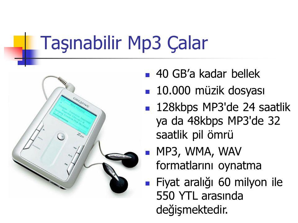 Taşınabilir Mp3 Çalar 40 GB'a kadar bellek 10.000 müzik dosyası 128kbps MP3'de 24 saatlik ya da 48kbps MP3'de 32 saatlik pil ömrü MP3, WMA, WAV format