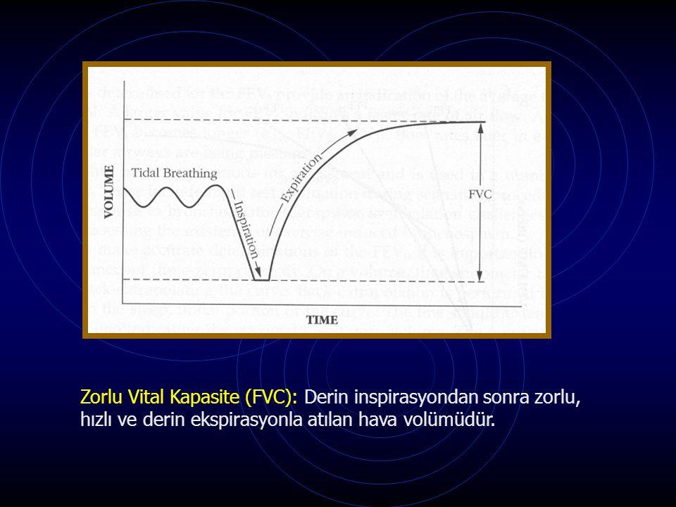 Zorlu Vital Kapasite (FVC): Derin inspirasyondan sonra zorlu, hızlı ve derin ekspirasyonla atılan hava volümüdür.