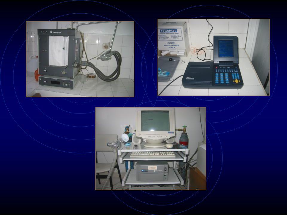 Volüm spirometreleri Avantajlar: Direkt olarak volümü ölçerler Ucuzdur Kolay uygulanırlar Dezavantajlar: Büyüktürler, taşınamazlar Hava kaçakları önemlidir Elle hesaplama gerektirirler Sulu tipinin suyunu sık değiştirmek gerekir