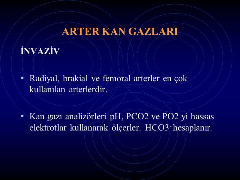 ARTER KAN GAZLARI İNVAZİV Radiyal, brakial ve femoral arterler en çok kullanılan arterlerdir. Kan gazı analizörleri pH, PCO2 ve PO2 yi hassas elektrot