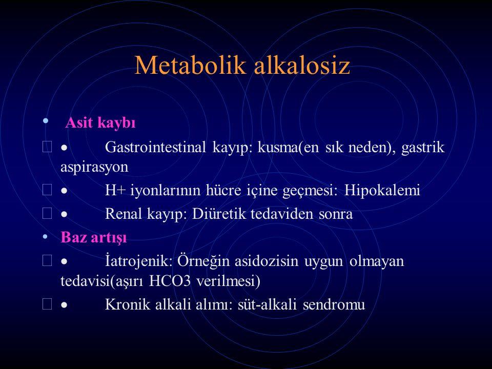 Metabolik alkalosiz Asit kaybı   Gastrointestinal kayıp: kusma(en sık neden), gastrik aspirasyon   H+ iyonlarının hücre içine geçmesi: Hipokalemi