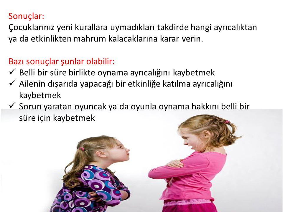Sonuçlar: Çocuklarınız yeni kurallara uymadıkları takdirde hangi ayrıcalıktan ya da etkinlikten mahrum kalacaklarına karar verin.