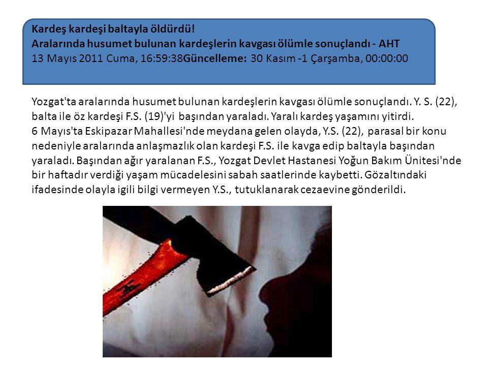 Yozgat'ta aralarında husumet bulunan kardeşlerin kavgası ölümle sonuçlandı. Y. S. (22), balta ile öz kardeşi F.S. (19)'yi başından yaraladı. Yaralı ka