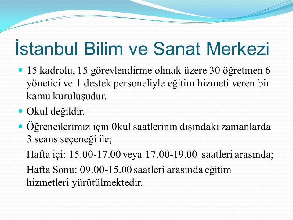 İstanbul Bilim ve Sanat Merkezi 15 kadrolu, 15 görevlendirme olmak üzere 30 öğretmen 6 yönetici ve 1 destek personeliyle eğitim hizmeti veren bir kamu