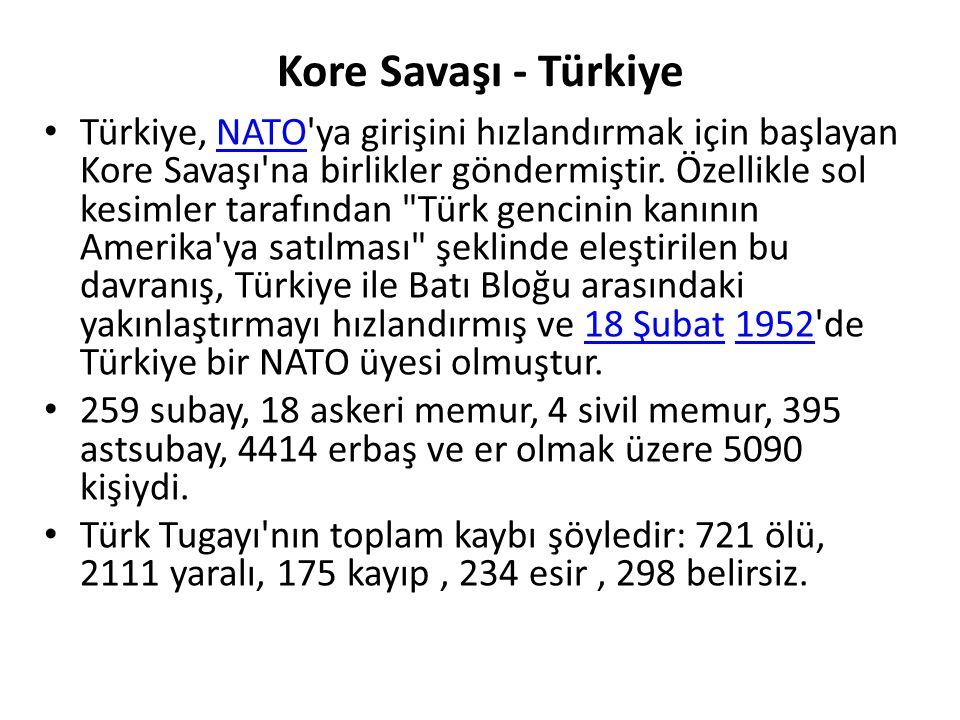 Kore Savaşı - Türkiye Türkiye, NATO ya girişini hızlandırmak için başlayan Kore Savaşı na birlikler göndermiştir.