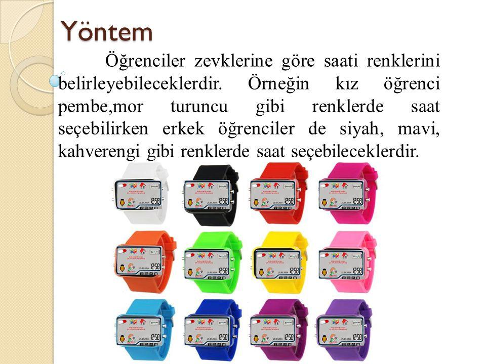 Yöntem Öğrenciler zevklerine göre saati renklerini belirleyebileceklerdir. Örneğin kız öğrenci pembe,mor turuncu gibi renklerde saat seçebilirken erke