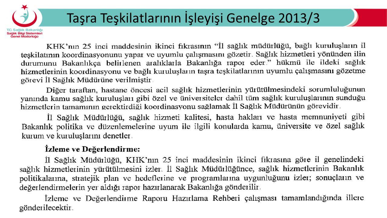 Taşra Teşkilatlarının İşleyişi Genelge 2013/3