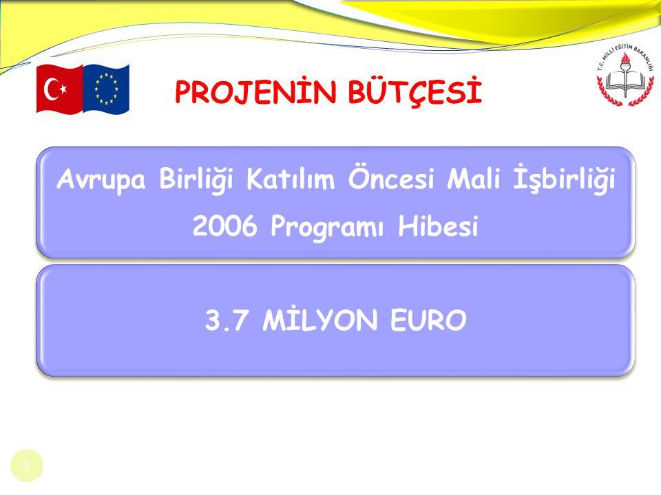 Avrupa Birliği Katılım Öncesi Mali İşbirliği 2006 Programı Hibesi 3.7 MİLYON EURO PROJENİN BÜTÇESİ 1