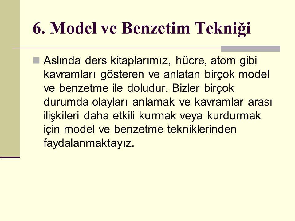 6. Model ve Benzetim Tekniği Aslında ders kitaplarımız, hücre, atom gibi kavramları gösteren ve anlatan birçok model ve benzetme ile doludur. Bizler b