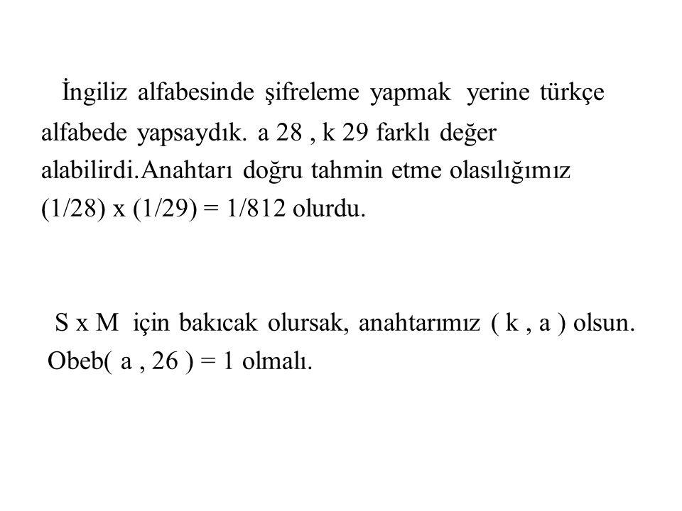 İngiliz alfabesinde şifreleme yapmak yerine türkçe alfabede yapsaydık. a 28, k 29 farklı değer alabilirdi.Anahtarı doğru tahmin etme olasılığımız (1/2