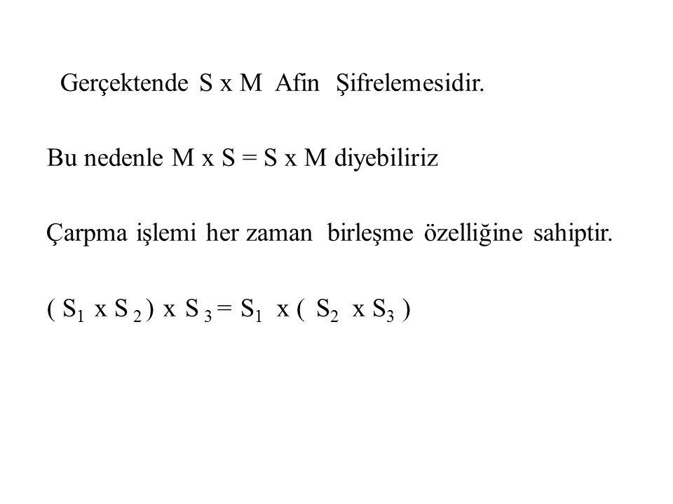 Gerçektende S x M Afin Şifrelemesidir. Bu nedenle M x S = S x M diyebiliriz Çarpma işlemi her zaman birleşme özelliğine sahiptir. ( S 1 x S 2 ) x S 3