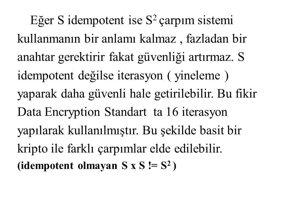 Eğer S idempotent ise S 2 çarpım sistemi kullanmanın bir anlamı kalmaz, fazladan bir anahtar gerektirir fakat güvenliği artırmaz. S idempotent değilse