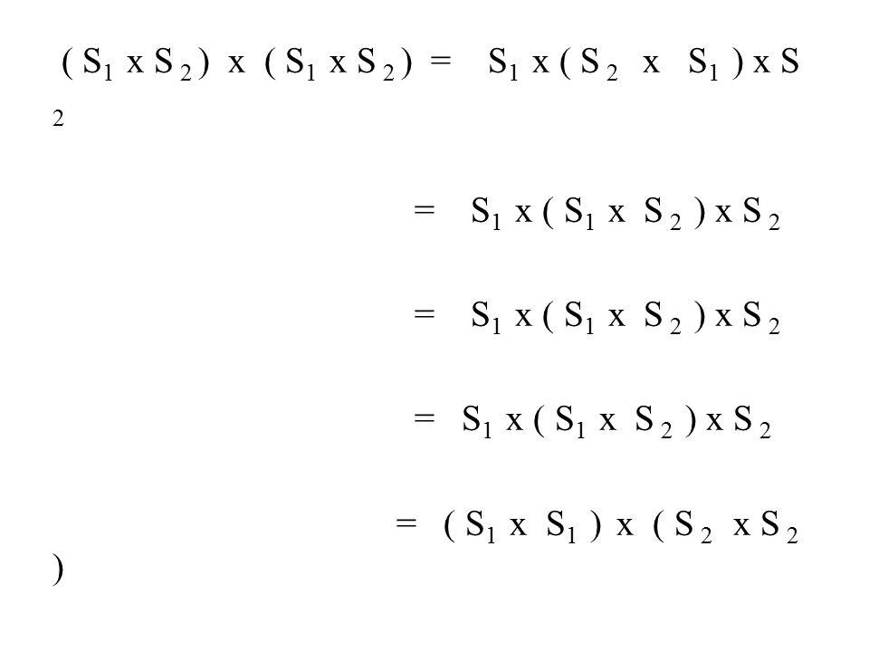 ( S 1 x S 2 ) x ( S 1 x S 2 ) = S 1 x ( S 2 x S 1 ) x S 2 = S 1 x ( S 1 x S 2 ) x S 2 = S 1 x ( S 1 x S 2 ) x S 2 = S 1 x ( S 1 x S 2 ) x S 2 = ( S 1