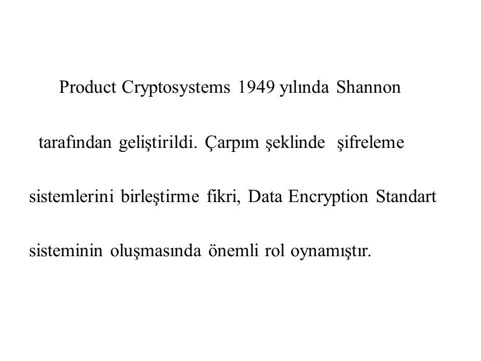Product Cryptosystems 1949 yılında Shannon tarafından geliştirildi. Çarpım şeklinde şifreleme sistemlerini birleştirme fikri, Data Encryption Standart