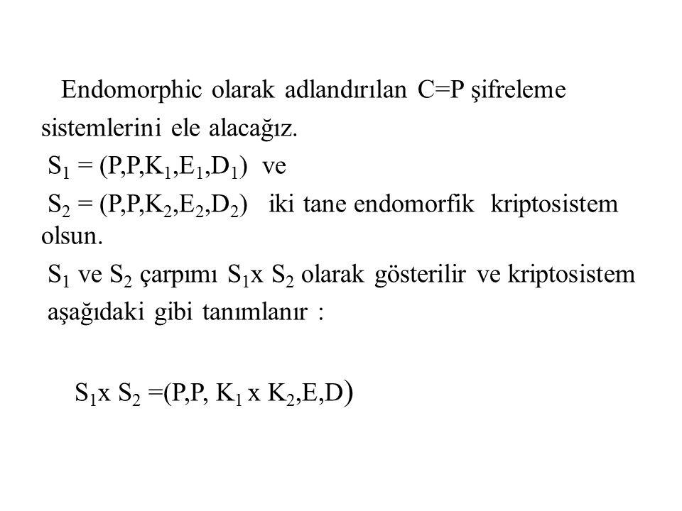 Endomorphic olarak adlandırılan C=P şifreleme sistemlerini ele alacağız. S 1 = (P,P,K 1,E 1,D 1 ) ve S 2 = (P,P,K 2,E 2,D 2 ) iki tane endomorfik krip