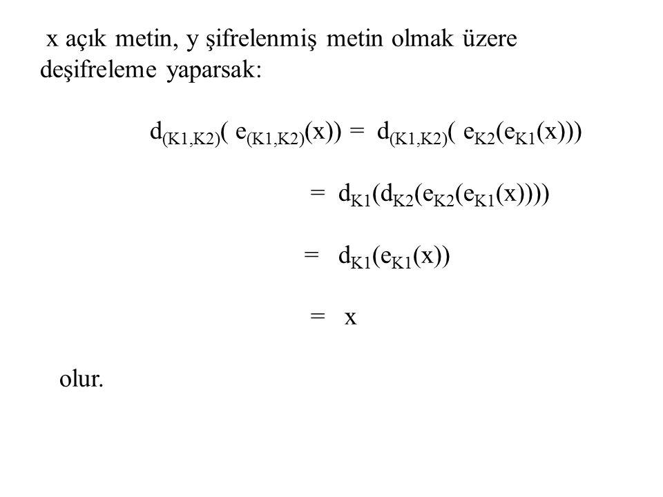 x açık metin, y şifrelenmiş metin olmak üzere deşifreleme yaparsak: d (K1,K2) ( e (K1,K2) (x)) = d (K1,K2) ( e K2 (e K1 (x))) = d K1 (d K2 (e K2 (e K1