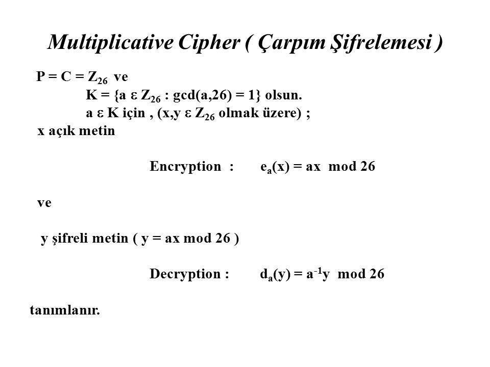 Multiplicative Cipher ( Çarpım Şifrelemesi ) P = C = Z 26 ve K = {a  Z 26 : gcd(a,26) = 1} olsun. a  K için, (x,y  Z 26 olmak üzere) ; x açık metin