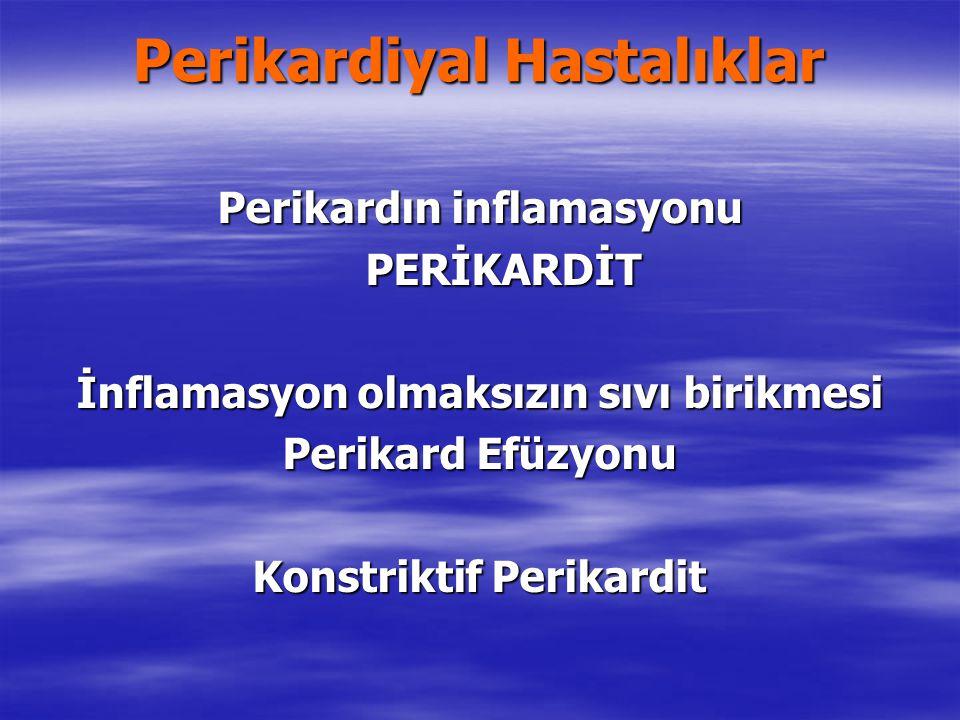 Perikardiyal Hastalıklar Perikardın inflamasyonu PERİKARDİT İnflamasyon olmaksızın sıvı birikmesi Perikard Efüzyonu Konstriktif Perikardit
